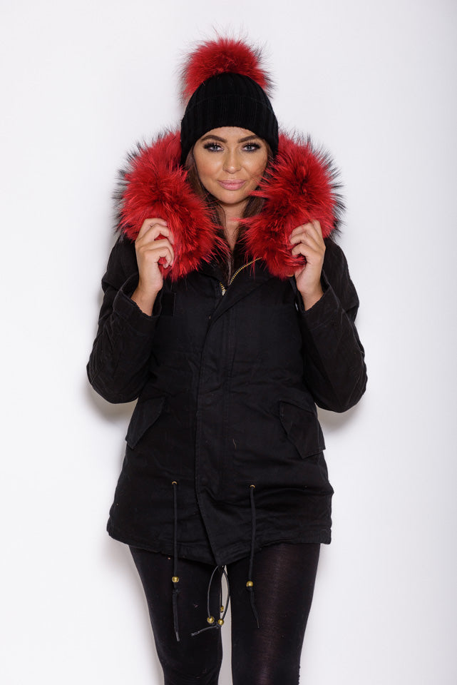 Red Raccoon Fur collar Parka Coat - Black - Poshpoms