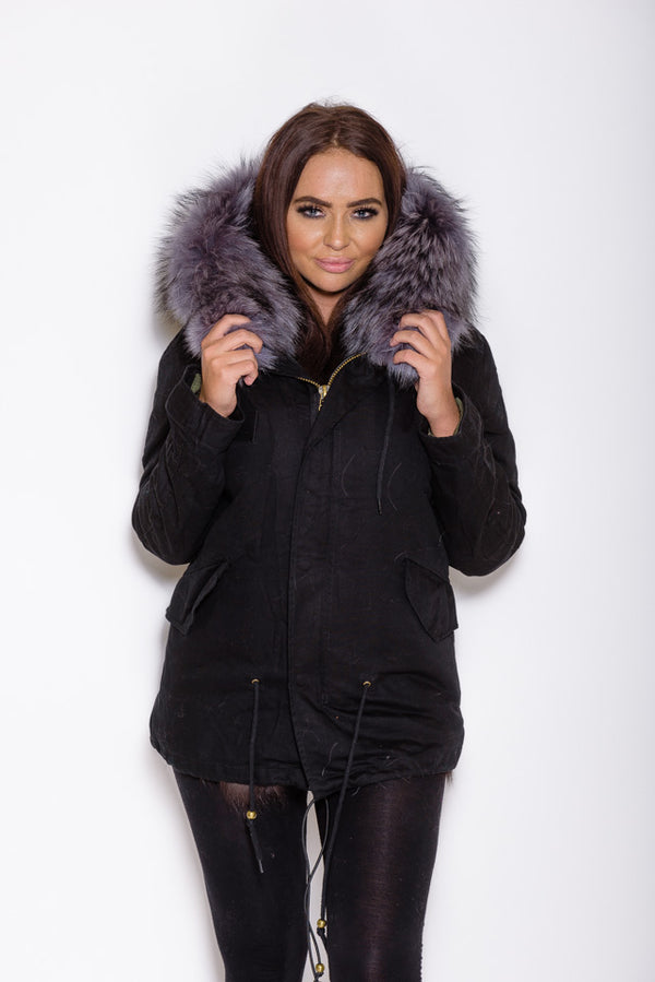 Natural Silver Fox Fur collar Parka Coat - Black - Poshpoms