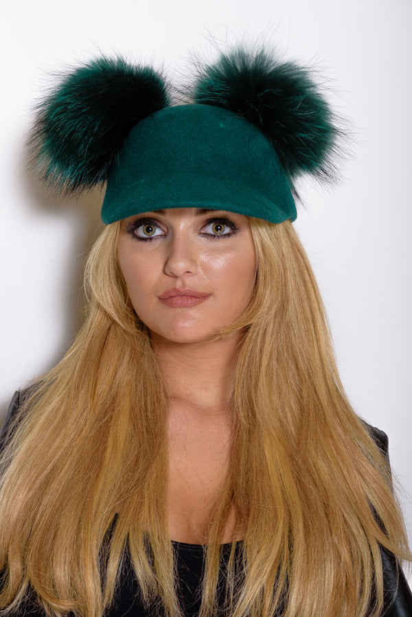 Green Double Pom Raccoon Fur Cap - Matching Pom - Poshpoms
