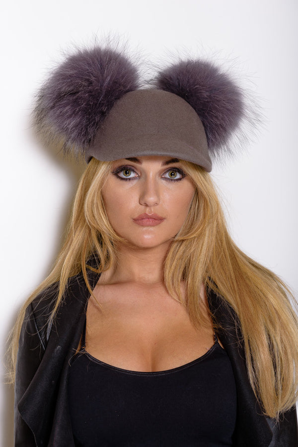 Grey Double Pom Raccoon Fur Cap - Matching Pom - Poshpoms
