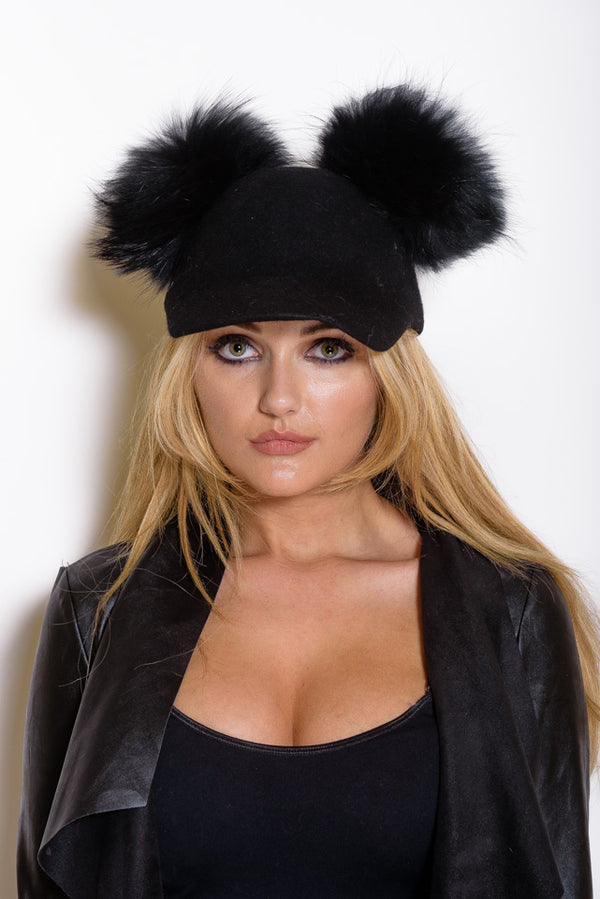 Black Double Pom Raccoon Fur Cap - Matching Pom - Poshpoms
