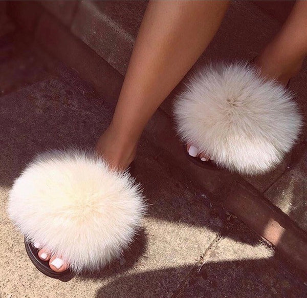 Fox Fur Sliders - Camel - Poshpoms