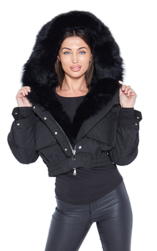 Black Raccoon Fur Cropped Bomber Jacket - Matching Fur