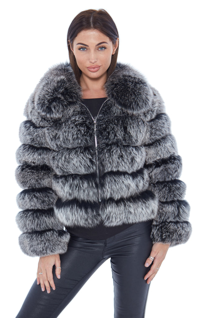 Frosted Fox Fur Coat Zip