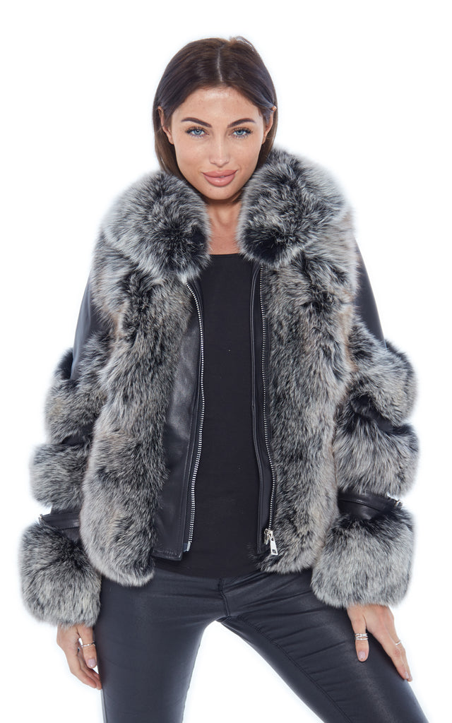 Frosted Leather Fox Fur Jacket