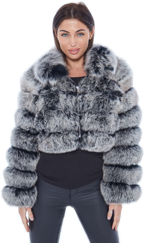 Frosted Cropped Fox Fur Coat Zip