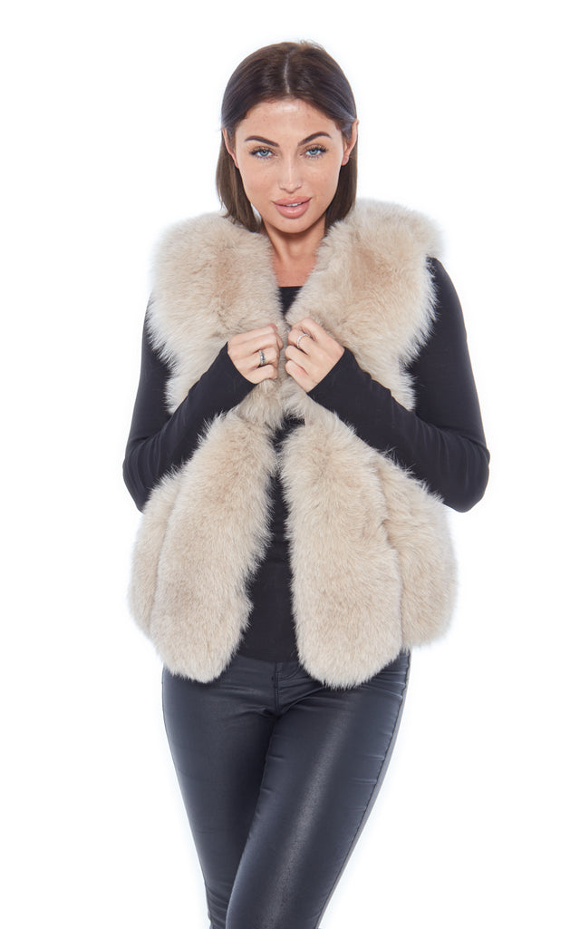 Beige Short Leather Fox Fur Gilet