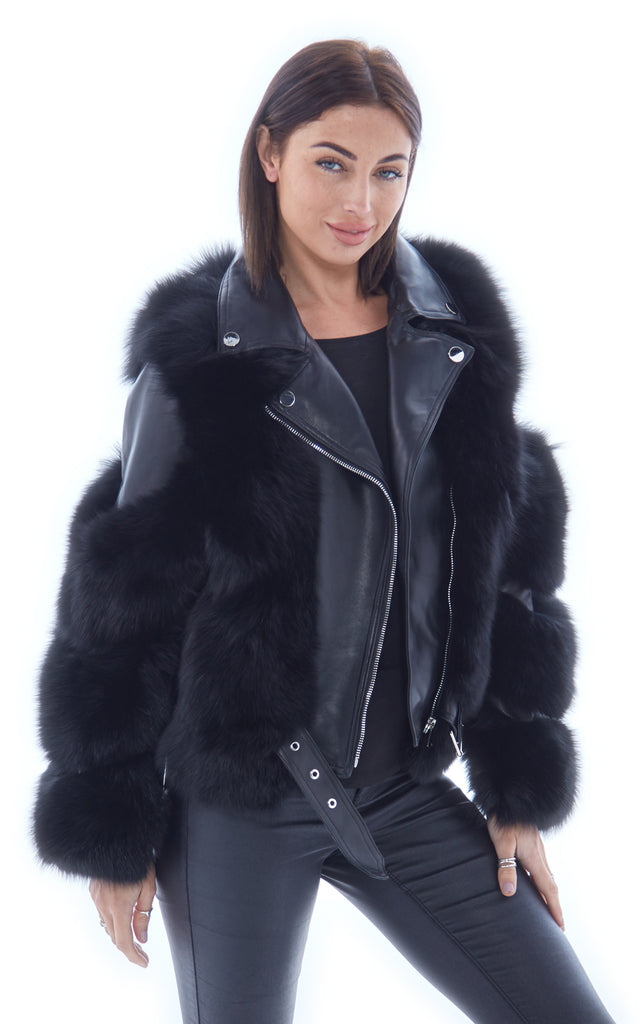 Black Leather Fox Fur Jacket