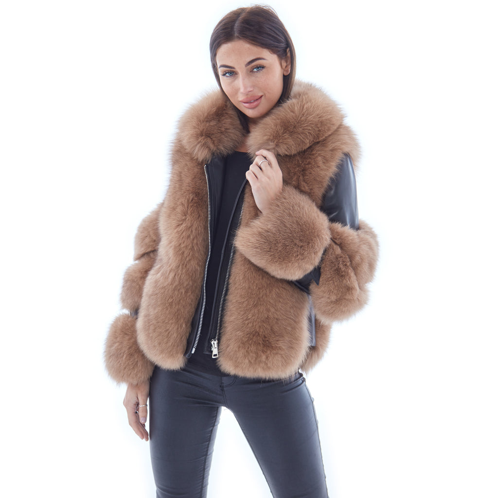 Tan Leather Fox Fur Jacket