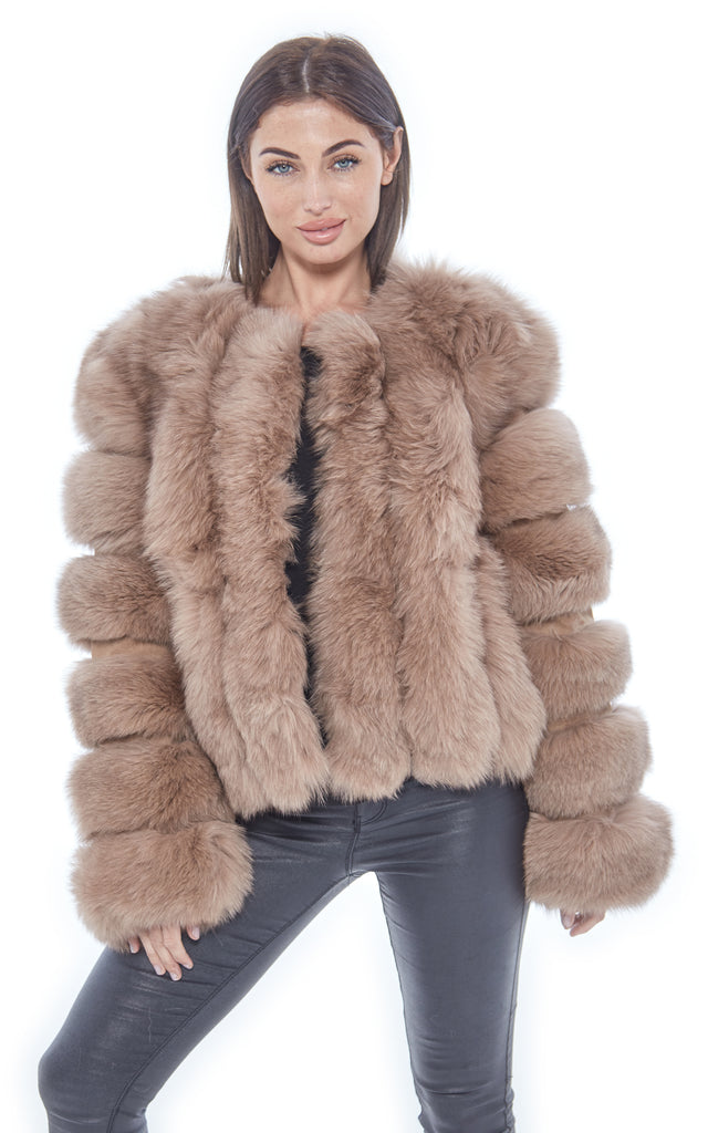 Tan Panel Fox Fur Coat