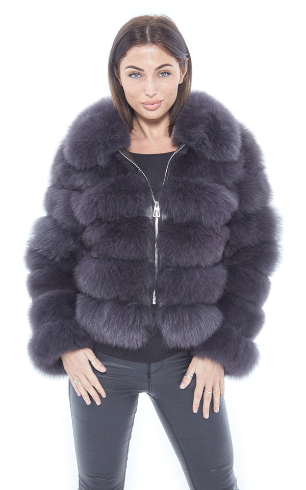 Dark Grey Fox Fur Coat Zip