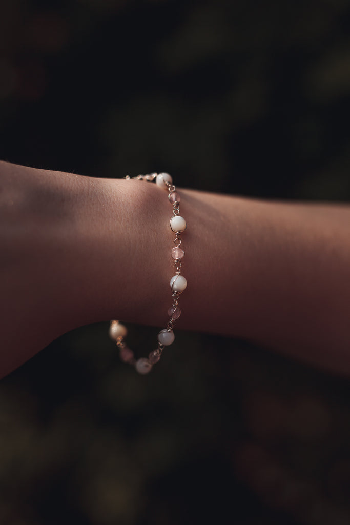 Rose Quartz and Mother of Pearl bracelet