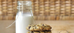 Chocolate Chip Oatmeal Cookies with Date Sugar & Milk Bottle