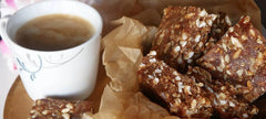 Date and Peanut Butter Squares With Cup of Tea