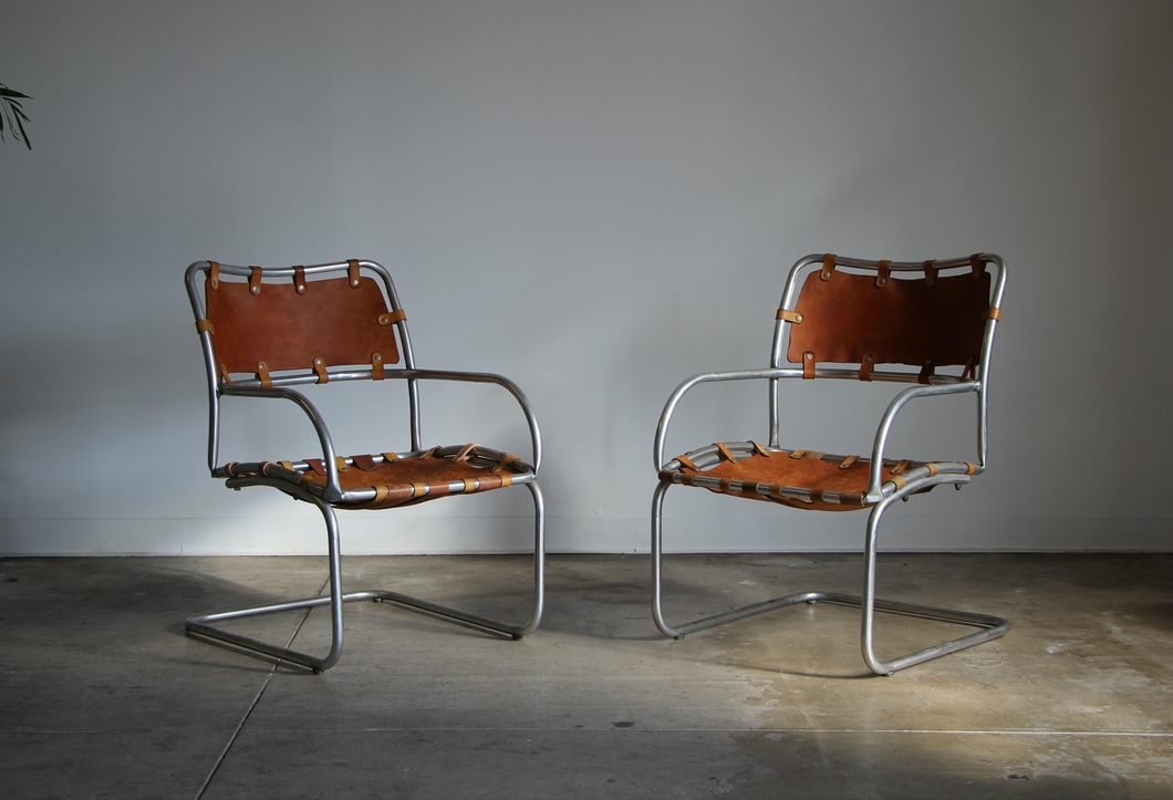Modernist Aluminum and Saddle Leather Lounge Chairs