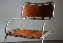 Load image into Gallery viewer, Modernist Aluminum and Saddle Leather Lounge Chairs