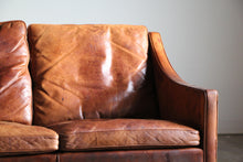 Load image into Gallery viewer, Borge Mogensen Distressed Leather Sofa, 1960s