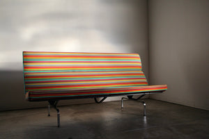 Charles and Ray Eames Compact Sofa in Alexander Girard Miller Stripe Fabric