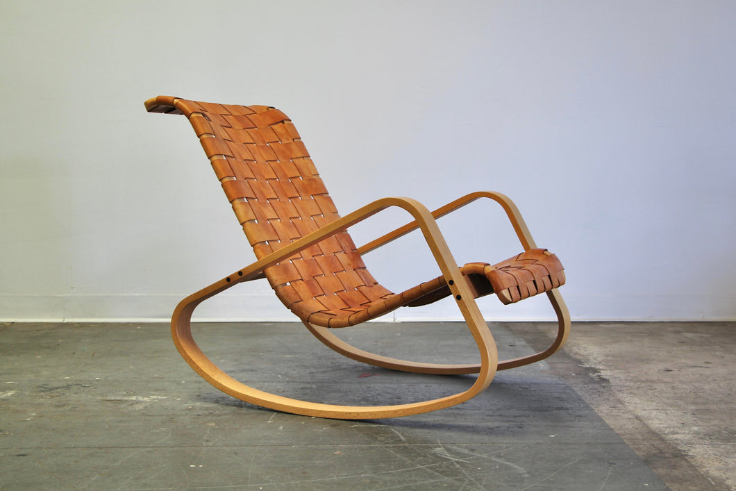 Luigi Crassevig Sculptural Leather Strap Rocking Chair, 1980s