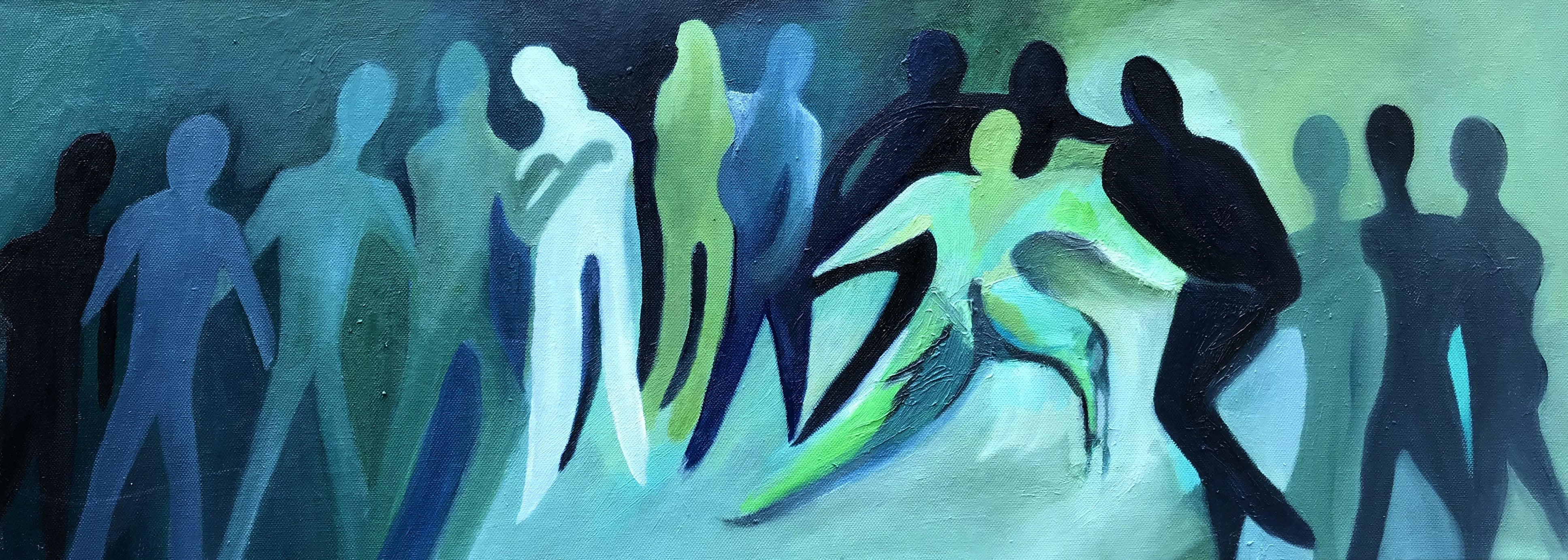 original oil painting of a group of people