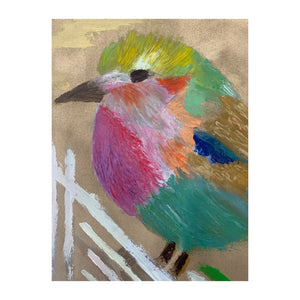 African Roller Bird On Gold - Original Oil Painting