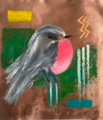 Pink Robin on Copper - Original Oil Painting