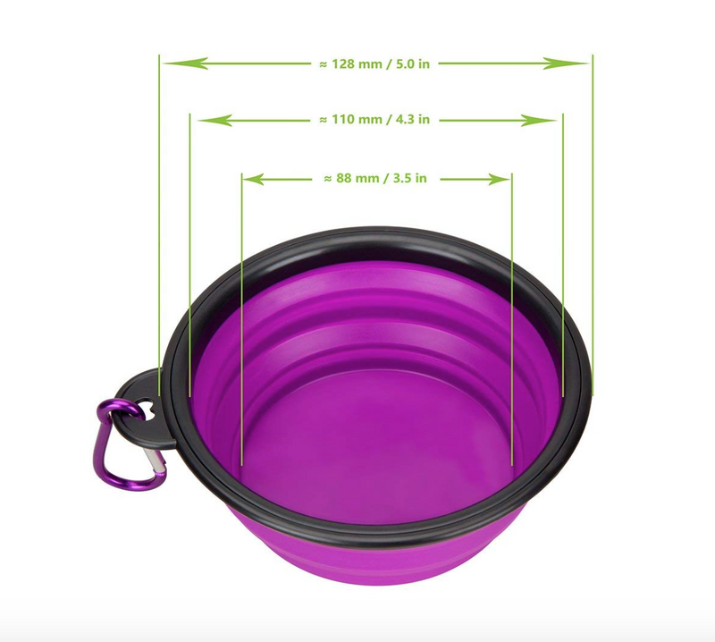 Portable & Collapsible Silicone Dog Travel Bowl by HappyPaws™ (Clip included)