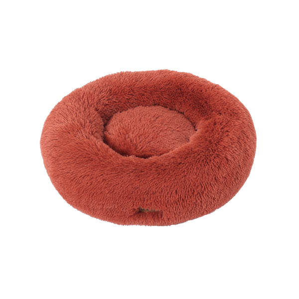 Charlie's Faux Fur Fluffy Calming Pet Bed Nest Large Terracotta