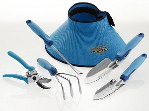 6-piece Gardening Set, Trowel, Hybrid Soil Knife, Cultivator, Weeder, Pruner and Hat.