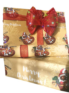 Black Santa and Mrs. Claus Gift Wrap