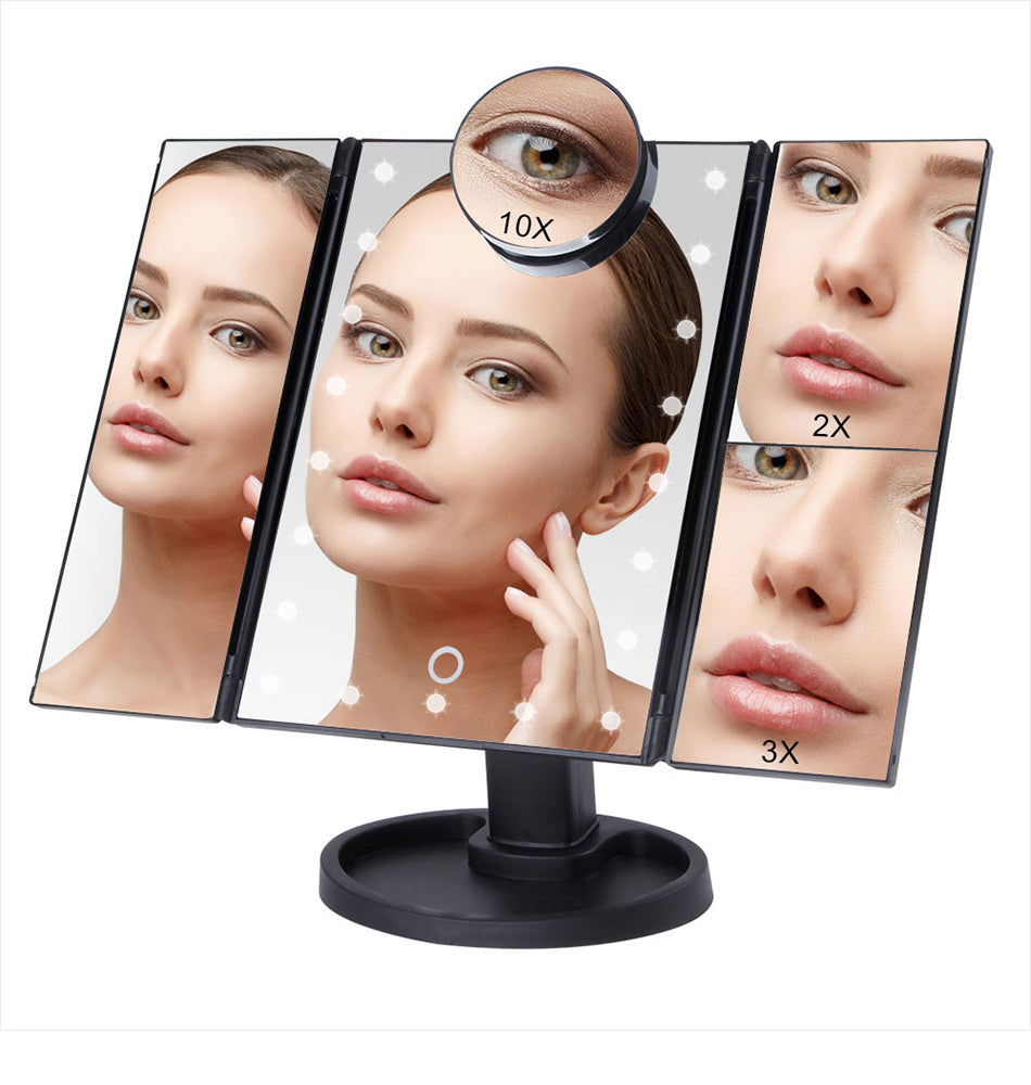 MAKEUP MIRROR WITH TOUCH SCREEN WITH 22 LED LIGHTS 1X / 2X / 3X / 10X MAGNIFYING GLASS 3- COMPACT AND FOLDABLE
