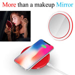 PORTABLE MAKEUP MIRROR WITH LED LIGHTS AND WIRELESS CHARGER FOR IOS AND ANDROID PHONE