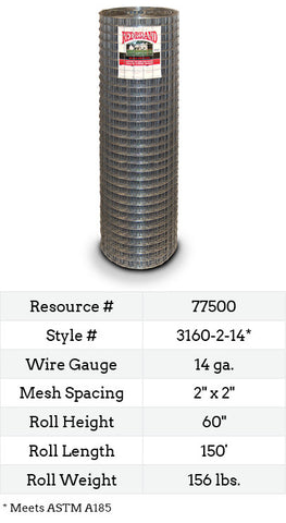Square Galvanized (Welded Wire) 150-ft. #3160-2-14