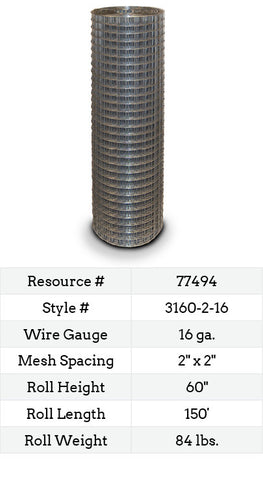 Square Galvanized (Welded Wire) 150-ft. #3160-2-16