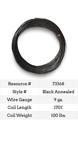 Black Annealed Smooth Wire 9 Gauge - 1701-ft.