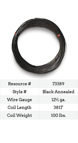 Black Annealed Smooth Wire 12½ Gauge - 3817-ft.