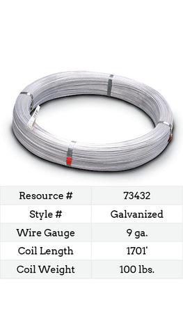 Galvanized Smooth Wire 9 Gauge - 1701-ft.