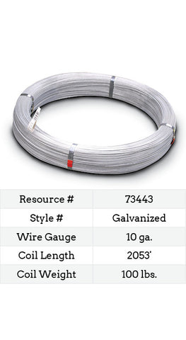 Galvanized Smooth Wire 10 Gauge - 2053-ft.