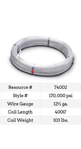 High Tensile Smooth Wire 12½ Gauge 170,000 PSI - 4000-ft.