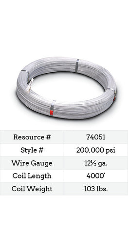 High Tensile Smooth Wire 12½ Gauge 200,000 PSI - 4000-ft.