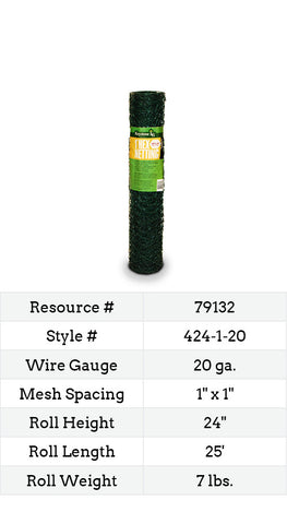 Keystone LG Green Coated Hex Netting 25-ft. #424-1-20