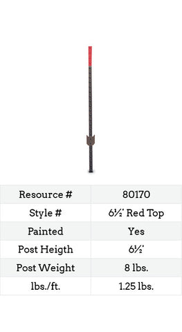 Red Top Studded T-Post - 6½-ft.