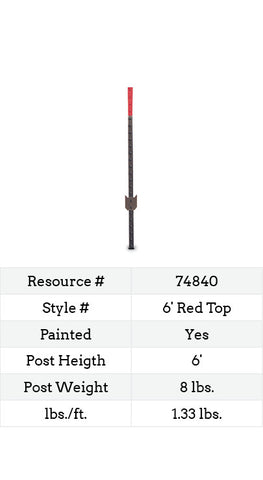 Red Top Heavy Duty Studded T-Post - 6-ft.