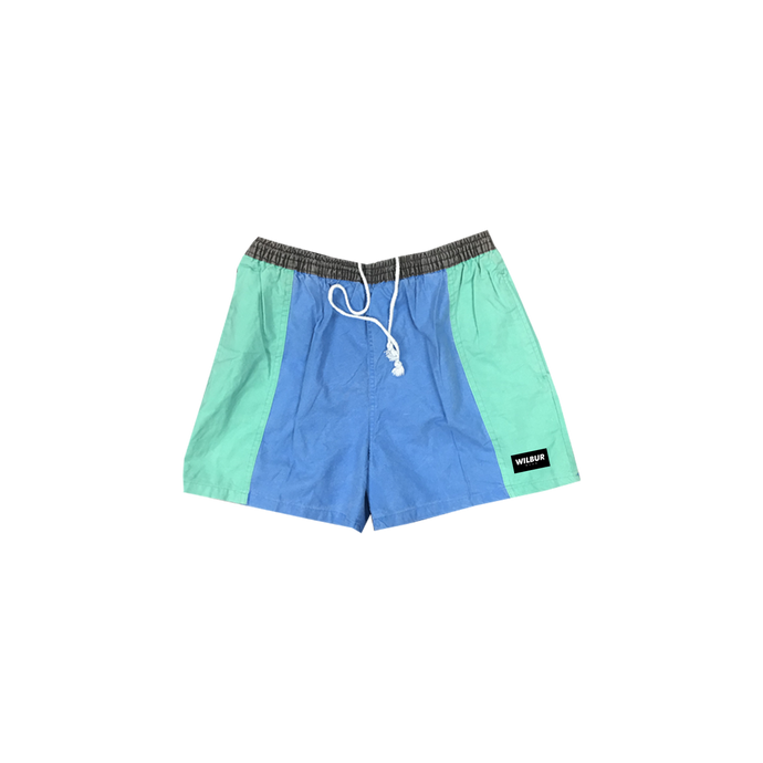 COLOR BLOCK VINTAGE SWIM TRUNKS - GREEN/BLUE