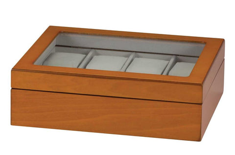 Mele & Co Oak Finish 8 Piece Watch Storage Box