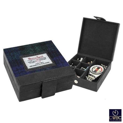 BBC Jewellery & Watches:Watches, Parts & Accessories:Boxes, Cases & Watch Winders Harris Tweed Cufflink & Watch Trinket Box Leather with Black Watch Tweed Lid