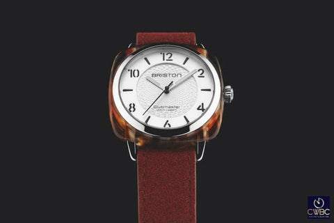 Briston Jewellery & Watches:Watches, Parts & Accessories:Wristwatches Briston Clubmaster Chic Steel Red Element Acetate White Dial Watch