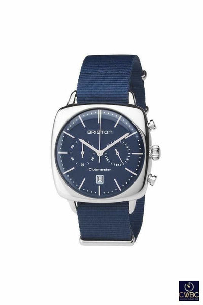 Briston Jewellery & Watches:Watches, Parts & Accessories:Wristwatches Briston Clubmaster Vintage Steel Chrono 40 Polished Steel with Blue Dial Watch