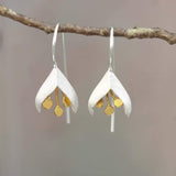 Christin Ranger Christin Ranger Snowdrop Flower Sterling Silver & Gold Detail Dangle Drop Earrings