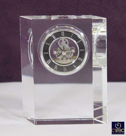 David Peterson Home, Furniture & DIY:Clocks:Desk, Mantel & Carriage Clocks Rhombus Desktop Lead Crystal Clock with Plated Movement by David Peterson
